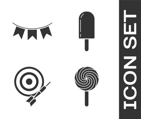 Set Lollipop, Carnival garland with flags, Classic dart board and arrow and Ice cream icon. Vector Ilustrace
