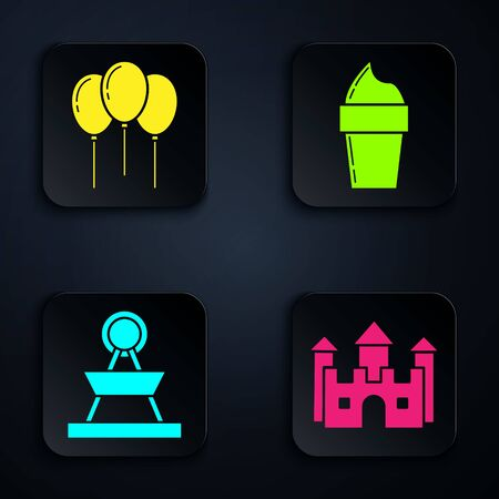 Set Castle, Balloons with ribbon, Attraction carousel and Ice cream in waffle cone. Black square button. Vector 向量圖像