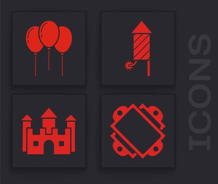 Set Ticket, Balloons with ribbon, Firework rocket and Castle icon. Vector 向量圖像