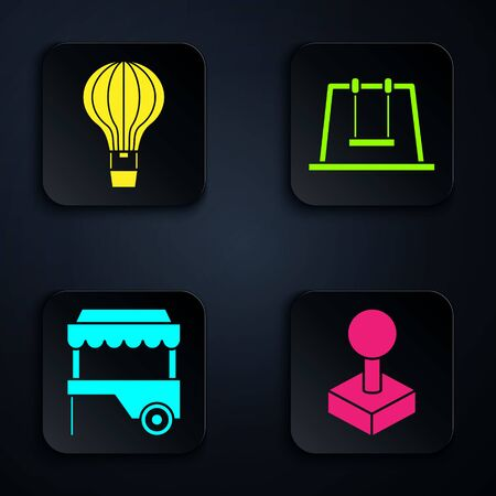 Set Joystick for arcade machine, Hot air balloon, Fast street food cart with awning and Swing. Black square button. Vector Illusztráció
