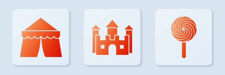 Set Castle, Circus tent and Lollipop. White square button. Vector 向量圖像