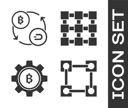 Set Blockchain technology, Cryptocurrency exchange, Cryptocurrency coin Bitcoin and Blockchain technology icon. Vector