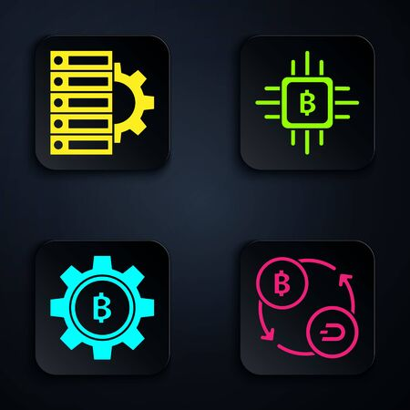 Set Cryptocurrency exchange, Server and gear, Cryptocurrency coin Bitcoin and CPU mining farm. Black square button. Vector Stockfoto - 138001288