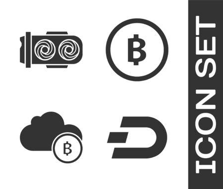 Set Cryptocurrency coin Dash, Mining farm, Cryptocurrency cloud mining and Cryptocurrency coin Bitcoin icon. Vector Vector Illustration