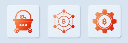 Set Blockchain technology Bitcoin, Shopping basket with bitcoin and Cryptocurrency coin Bitcoin. White square button. Vector