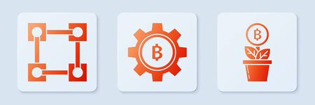Set Cryptocurrency coin Bitcoin, Blockchain technology and Bitcoin plant in the pot. White square button. Vector