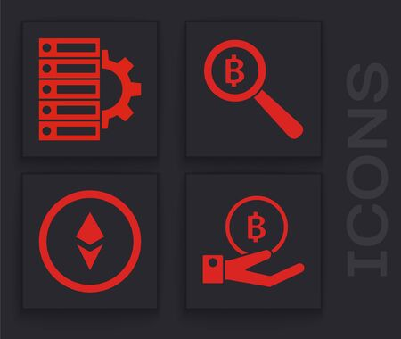 Set Hand holding Bitcoin, Server and gear, Magnifying glass with Bitcoin and Cryptocurrency coin Ethereum ETH icon. Vector Stock Illustratie