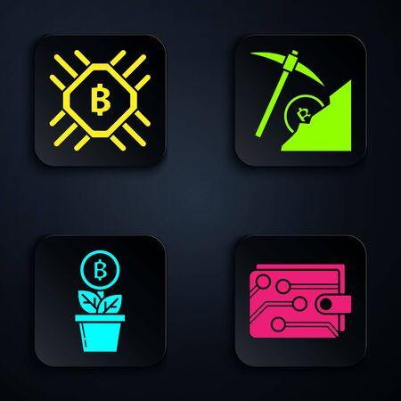 Set Cryptocurrency wallet, CPU mining farm, Bitcoin plant in the pot and Cryptocurrency cloud mining. Black square button. Vector Illustration