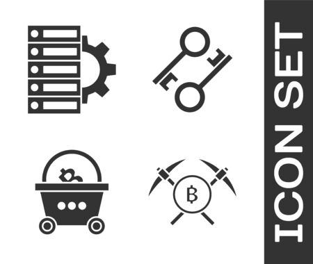Set Crossed pickaxe, Server and gear, Shopping basket with bitcoin and Cryptocurrency key icon. Vector Stock Illustratie