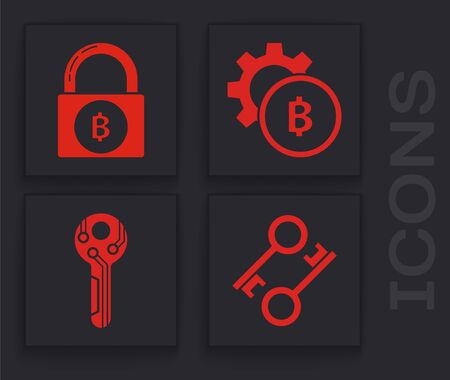 Set Cryptocurrency key, Lock with bitcoin, Cryptocurrency coin Bitcoin and Cryptocurrency key icon. Vector Stockfoto - 138001286