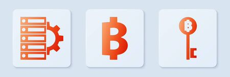 Set Cryptocurrency coin Bitcoin, Server and gear and Cryptocurrency Bitcoin key. White square button. Vector