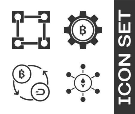 Set Blockchain technology Ethereum ETH, Blockchain technology, Cryptocurrency exchange and Cryptocurrency coin Bitcoin icon. Vector