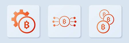 Set Cryptocurrency bitcoin in circle with microchip circuit, Cryptocurrency coin Bitcoin and Cryptocurrency coin Bitcoin. White square button. Vector
