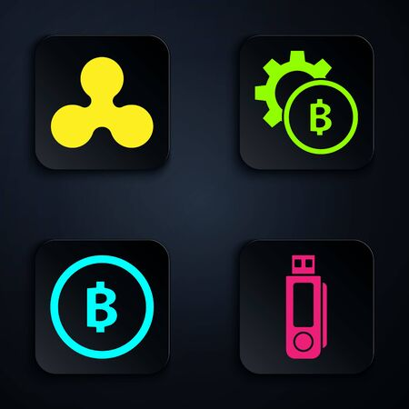 Set USB flash drive, Cryptocurrency coin Ripple XRP, Cryptocurrency coin Bitcoin and Cryptocurrency coin Bitcoin. Black square button. Vector Stock Illustratie