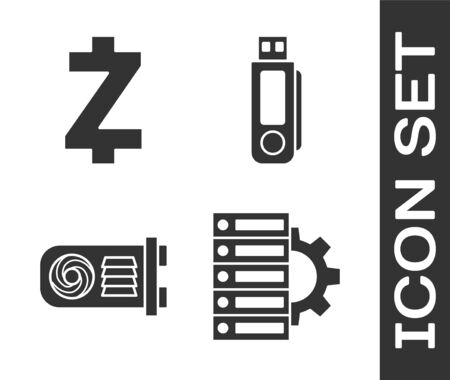 Set Server and gear, Cryptocurrency coin Zcash ZEC, Mining farm and USB flash drive icon. Vector