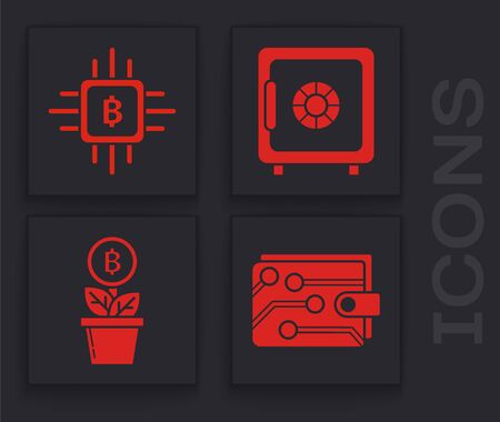 Set Cryptocurrency wallet, CPU mining farm, Safe and Bitcoin plant in the pot icon. Vector