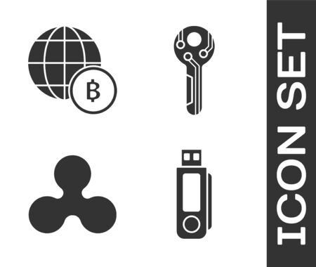 Set USB flash drive, Globe and cryptocurrency coin Bitcoin, Cryptocurrency coin Ripple XRP and Cryptocurrency key icon. Vector
