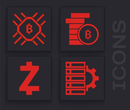 Set Server and gear, CPU mining farm, Cryptocurrency coin Bitcoin and Cryptocurrency coin Zcash ZEC icon. Vector
