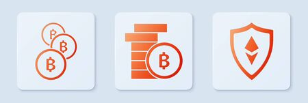 Set Cryptocurrency coin Bitcoin, Cryptocurrency coin Bitcoin and Shield Ethereum ETH. White square button. Vector