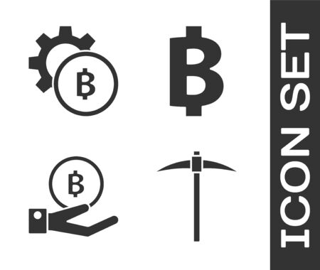 Set Pickaxe, Cryptocurrency coin Bitcoin, Hand holding Bitcoin and Cryptocurrency coin Bitcoin icon. Vector