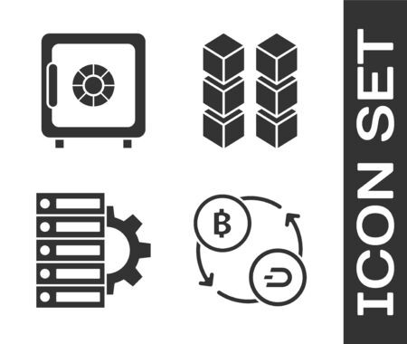 Set Cryptocurrency exchange, Safe, Server and gear and Blockchain technology icon. Vector