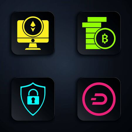 Set Cryptocurrency coin Dash, Monitor and Cryptocurrency coin Ethereum ETH, Shield security with lock and Cryptocurrency coin Bitcoin. Black square button. Vector Vector Illustration