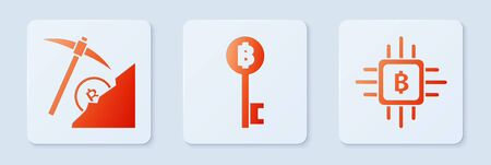 Set Cryptocurrency Bitcoin key, Cryptocurrency cloud mining and CPU mining farm. White square button. Vector