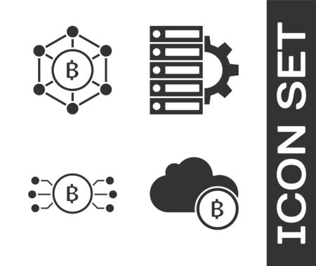 Set Cryptocurrency cloud mining, Blockchain technology Bitcoin, Cryptocurrency bitcoin in circle with microchip circuit and Server and gear icon. Vector