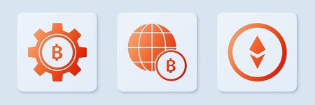 Set Globe and cryptocurrency coin Bitcoin, Cryptocurrency coin Bitcoin and Cryptocurrency coin Ethereum ETH. White square button. Vector