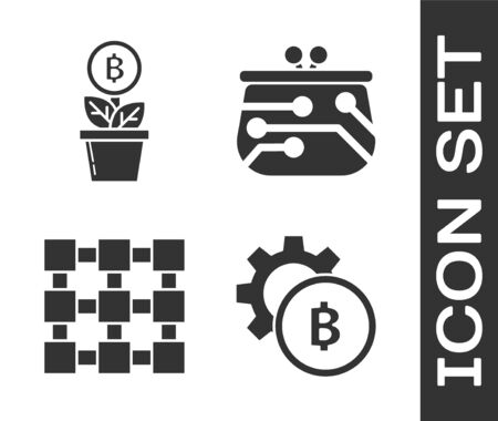 Set Cryptocurrency coin Bitcoin, Bitcoin plant in the pot, Blockchain technology and Cryptocurrency wallet icon. Vector