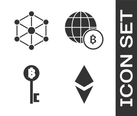 Set Cryptocurrency coin Ethereum ETH, Blockchain technology, Cryptocurrency Bitcoin key and Globe and cryptocurrency coin Bitcoin icon. Vector