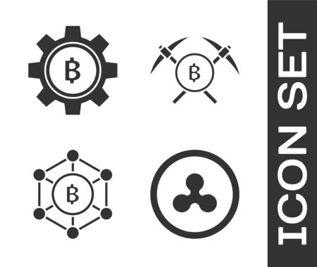 Set Cryptocurrency coin Ripple XRP, Cryptocurrency coin Bitcoin, Blockchain technology Bitcoin and Crossed pickaxe icon. Vector