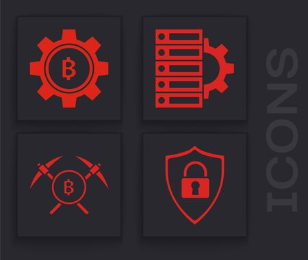 Set Shield security with lock, Cryptocurrency coin Bitcoin, Server and gear and Crossed pickaxe icon. Vector Stock Illustratie