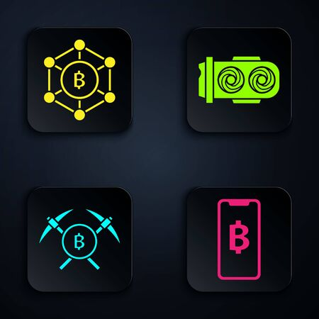 Set Phone mobile and cryptocurrency coin Bitcoin, Blockchain technology Bitcoin, Crossed pickaxe and Mining farm. Black square button. Vector