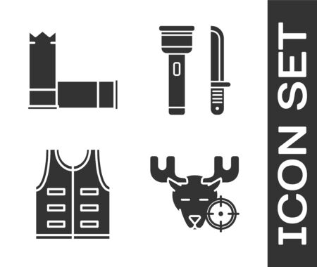 Set Hunt on moose with crosshairs, Cartridges, Hunting jacket and Flashlight and knife icon. Vector