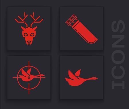 Set Flying duck, Deer head with antlers, Quiver with arrows and Hunt on duck with crosshairs icon. Vector