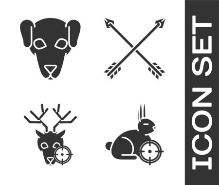 Set Hunt on rabbit with crosshairs, Hunting dog, Hunt on deer with crosshairs and Crossed arrows icon. Vector