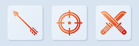 Set Target sport for shooting competition, Hipster arrow and Crossed hunter knife. White square button. Vector  イラスト・ベクター素材