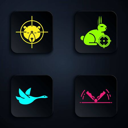 Set Trap hunting, Hunt on bear with crosshairs, Flying duck and Hunt on rabbit with crosshairs. Black square button. Vector Ilustração