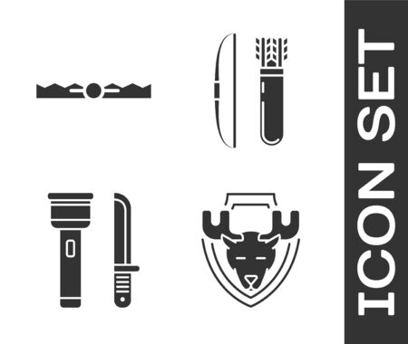 Set Moose head on shield, Trap hunting, Flashlight and knife and Bow and arrow in quiver icon. Vector Ilustrace