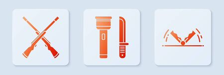 Set Flashlight and knife, Two crossed shotguns and Trap hunting. White square button. Vector Ilustrace