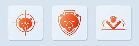 Set Bear head on shield, Hunt on bear with crosshairs and Trap hunting. White square button. Vector