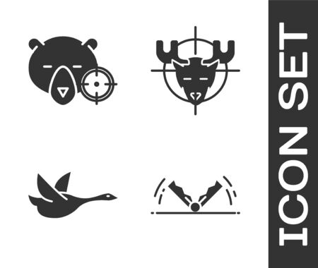 Set Trap hunting, Hunt on bear with crosshairs, Flying duck and Hunt on moose with crosshairs icon. Vector Ilustrace