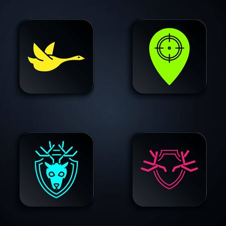 Set Deer antlers on shield, Flying duck, Deer head with antlers on shield and Hunt place. Black square button. Vector Ilustrace