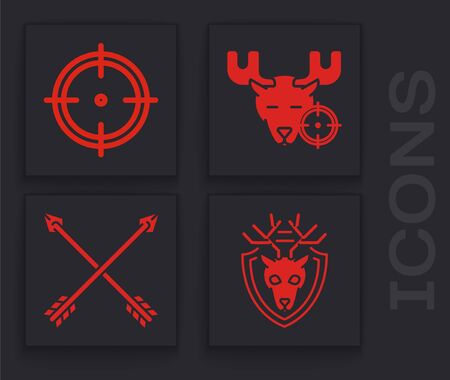 Set Deer head with antlers on shield, Target sport for shooting competition, Hunt on moose with crosshairs and Crossed arrows icon. Vector