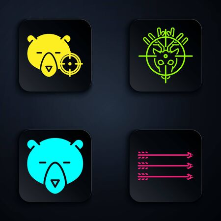 Set Hipster arrows, Hunt on bear with crosshairs, Bear head and Hunt on deer with crosshairs. Black square button. Vector