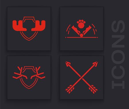 Set Crossed arrows, Moose horns on shield, Trap hunting and Deer antlers on shield icon. Vector Ilustrace