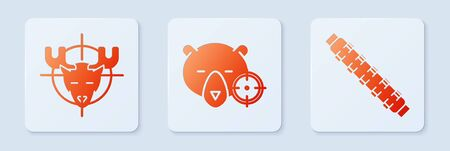Set Hunt on bear with crosshairs, Hunt on moose with crosshairs and Hunting cartridge belt with cartridges. White square button. Vector Ilustrace