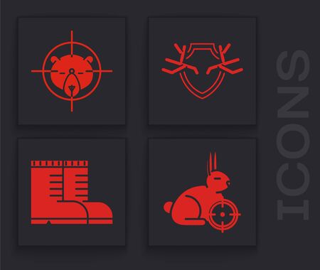 Set Hunt on rabbit with crosshairs, Hunt on bear with crosshairs, Deer antlers on shield and Hunter boots icon. Vector