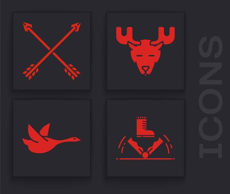 Set Trap hunting, Crossed arrows, Moose head with horns and Flying duck icon. Vector